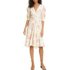 women's la vie rebecca taylor peonies short sleeve cotton dress