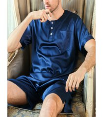 hombre leisure home seda manga corta redonda cuello pijama conjunto