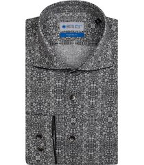 bos bright blue grijs overhemd met print 7-09/0028