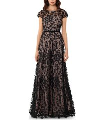 xscape 3d embroidered floral gown