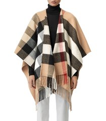 women's burberry mega check wool & cashmere cape