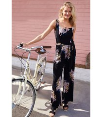 maurices womens black floral tank top jumpsuit