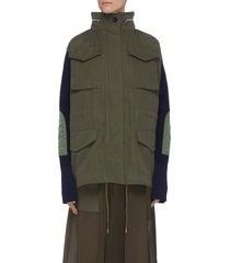 colourblock panelled multi pocket knit sleeve parka