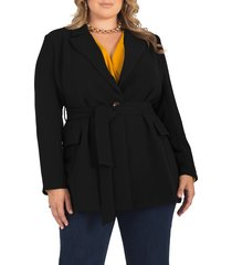 plus size women's standards & practices gina belted crepe blazer