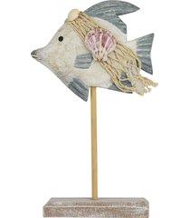 enfeite de mesa peixe de madeira 25cm kasa ideia