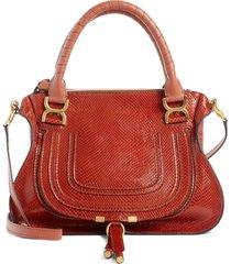 chloe marcie snake embossed leather satchel - brown