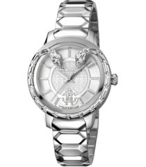 roberto cavalli by franck muller women's swiss quartz silver stainless steel bracelet watch, 34mm