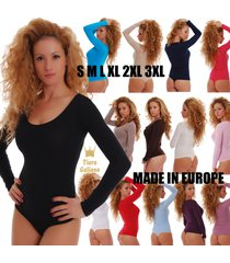 women cotton bodysuit scoop round sheer neck long sleeve thong 1370 leotard body