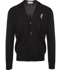 alexander mcqueen man black cardigan with gold thistle embroidery
