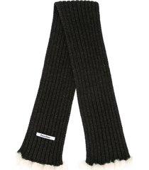 familiar chunky pompom scarf - black