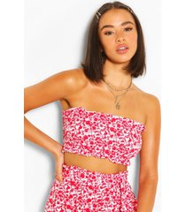 floral shirred bandeau top, red
