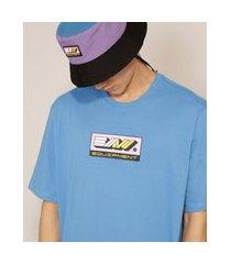 """camiseta de algodão equipment"""" manga curta gola careca baw clothing azul médio"""""""