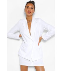 self button pocket detail blazer, white