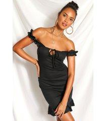 geribbelde mini jurk met ruches en uitgesneden hals, zwart