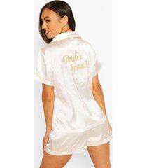 bruidssquad satijnen pyjama's, wit
