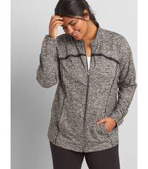 lane bryant women's livi pleat-trim jacket with wicking - spacedye 34/36 spacedye