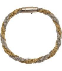 bracelete de aço inox tudo joias dupla cor 6mm de largura entrelaçado