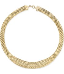 italian gold graduated wide mesh necklace in 14k gold