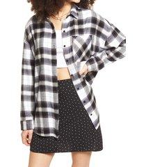 women's bp. boyfriend plaid button-up shirt, size x-large - black