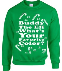 buddy the elf what's your favorite color movie ugly sweater crew sweatshirt b107