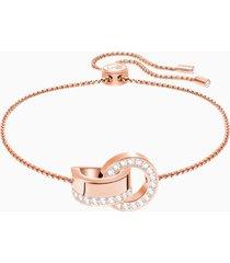 braccialetto hollow, bianco, placcato oro rosa