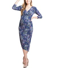 women's ingrid & isabel asymmetrical hem midi maternity/nursing dress, size x-small - blue