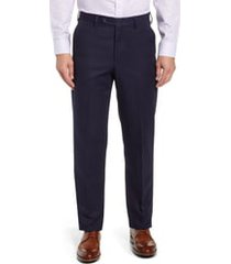 men's berle classic fit flat front microfiber performance trousers, size 34 - blue