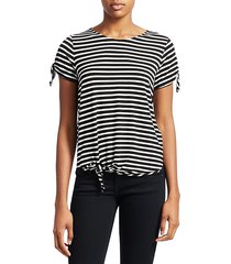 soft touch striped tie-front tee