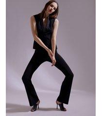 motivi pantaloni flare con banda in raso donna nero