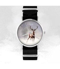 zegarek - jeleń 2 - czarny, nylonowy, unisex