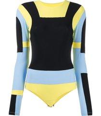 mm6 maison margiela panelled colour-block bodysuit - yellow