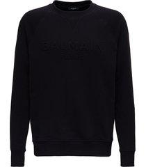 balmain cotton sweatshirt with embossed logo