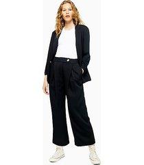 black colored crop wide pants - black