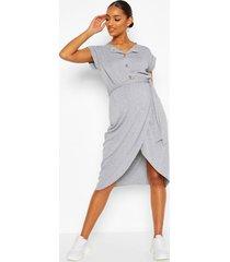 maternity button split front nursing midi dress, grey marl
