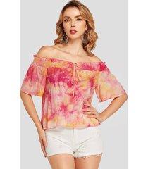 yoins blusa con tirantes elásticos con efecto tie dye multicolor diseño blusa con hombros descubiertos