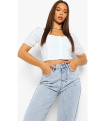 broiderie anglaise crop top met knopen, white