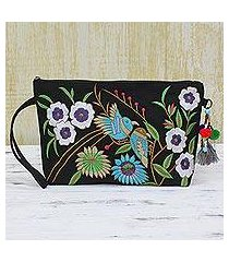 cotton wristlet handbag, 'garden view' (india)