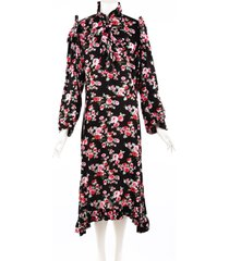vetements black pink floral print ruffle midi dress black/multicolor/floral print sz: s
