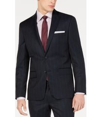 dkny blue wide pinstripe modern-fit jacket