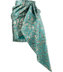 christian pellizzari draped jacquard mini skirt - blue