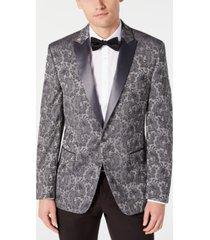 ryan seacrest distinction men's modern-fit stretch silver paisley jacquard dinner jacket, created for macy's