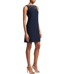 embellished crepe shift dress