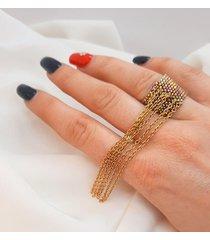 pierścionek z koralików z łańcuszkiem