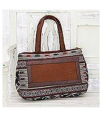 leather accented cotton handbag, 'pattern party' (india)
