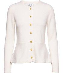 peplum jacket gebreide trui cardigan wit davida cashmere