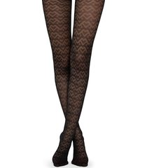 calzedonia - geometric tulle effect tights, m/l, black, women