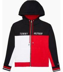 tommy hilfiger women's essential colorblock zip hoodie black/ red/ white - xs