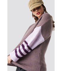 na-kd trend color striped sleeve detail knitted sweater - purple