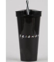 copo friends com canudo e pote preto