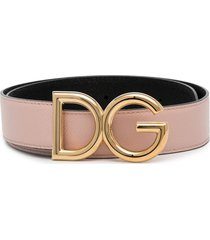 dolce & gabbana reversible dg logo belt - pink
